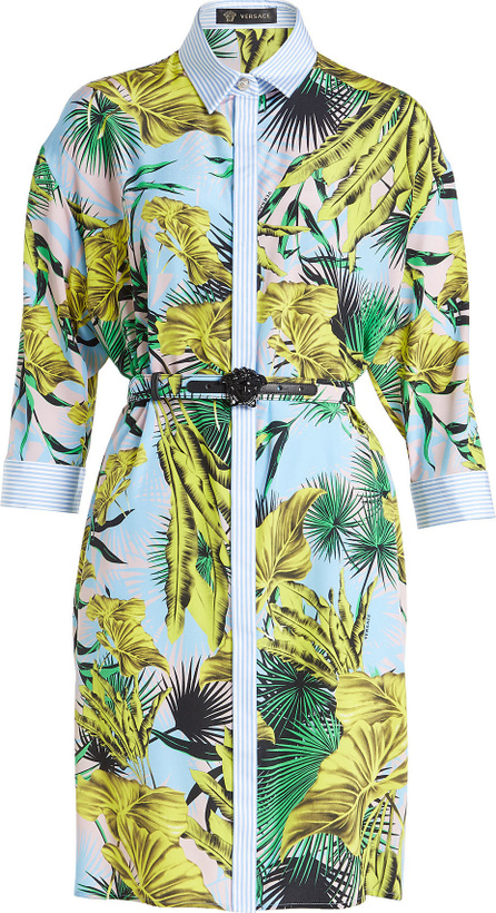 Versace Printed Silk Shirt Dress with Leather Belt