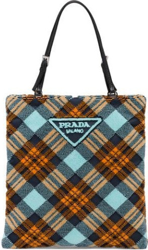 Prada Logo-plaque plaid velvet tote bag