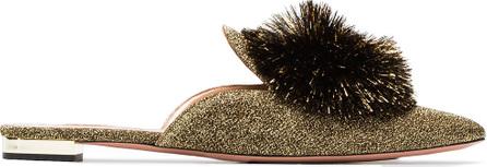 Aquazzura Gold Powder Puff lurex mules