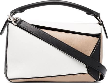 LOEWE White, beige and black puzzle small leather shoulder bag