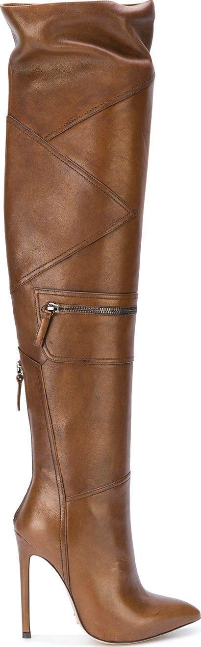 Gianni Renzi - thigh high panelled boots