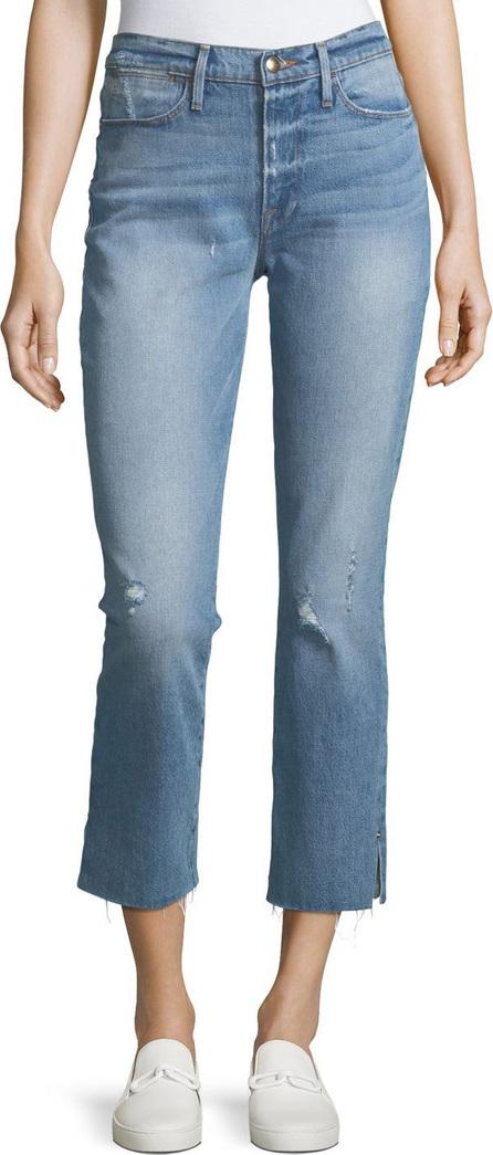 FRAME DENIM Le High Straight-Leg Raw-Edge Slit Jeans