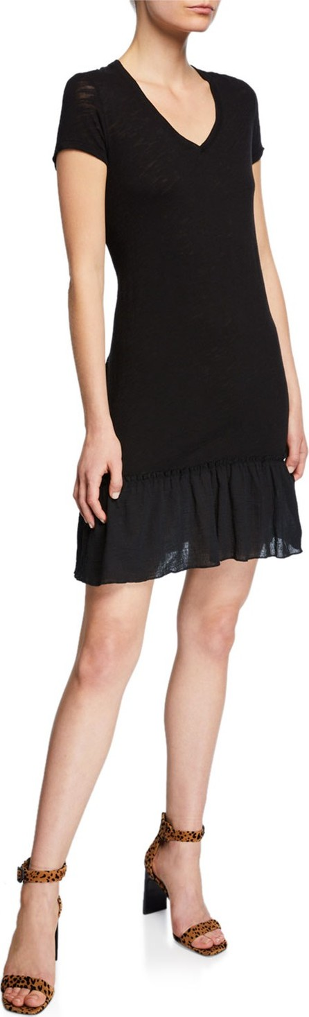 ATM Anthony Thomas Melillo V-Neck Short-Sleeve Slub Jersey Dress w/ Ruffle Detail
