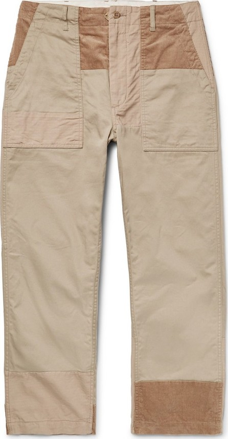 Engineered Garments Cropped Patchwork Cotton-Ripstop, Twill and Corduroy Drawstring Trousers