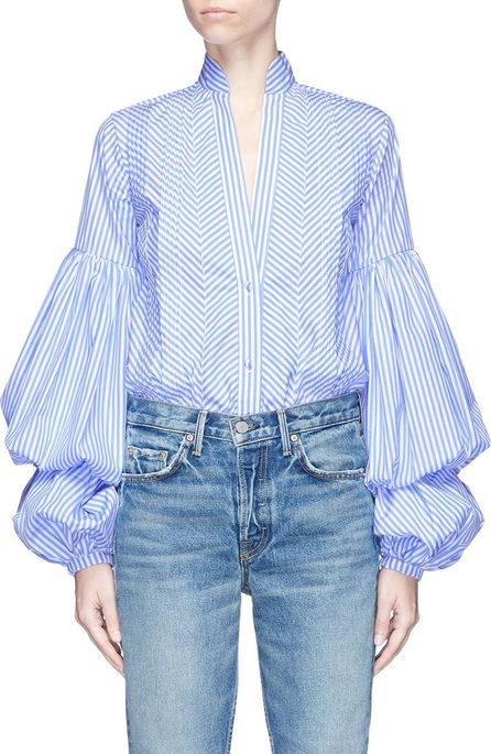 Johanna Ortiz 'Penny' layered bishop sleeve stripe bodysuit