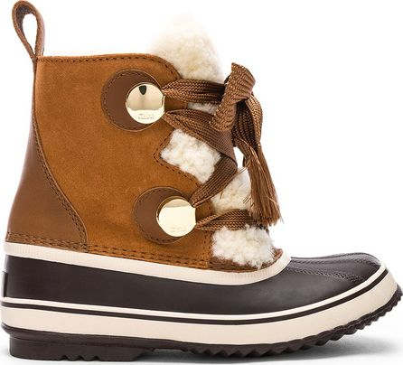 Chloe x Sorel Shearling & Suede Hiking Boots