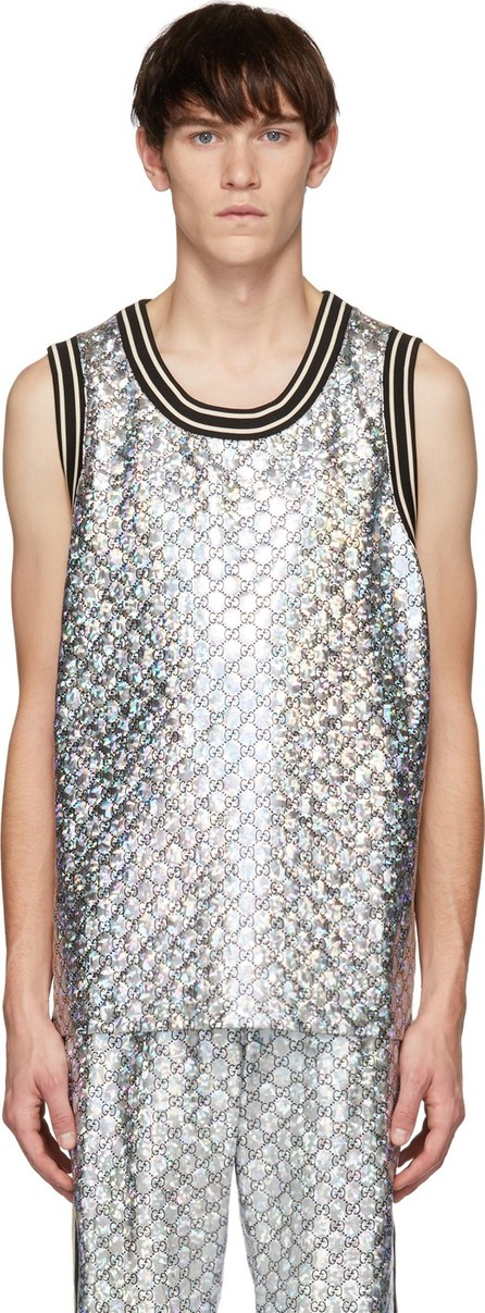 Gucci Black & Silver GG Printed Tank Top