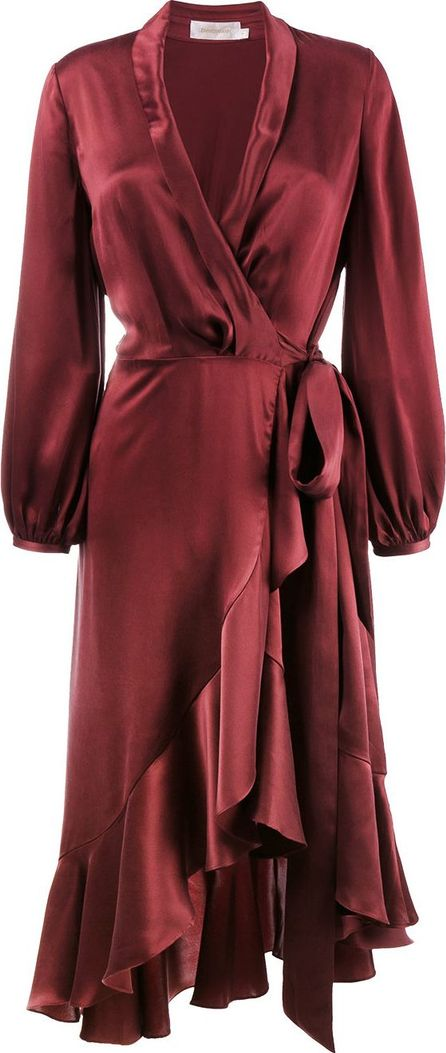 Zimmermann Silk Wrap Dress With Ruffle Detail