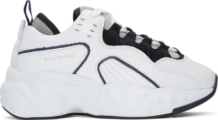 Acne Studios White & Navy Manhattan Sneakers