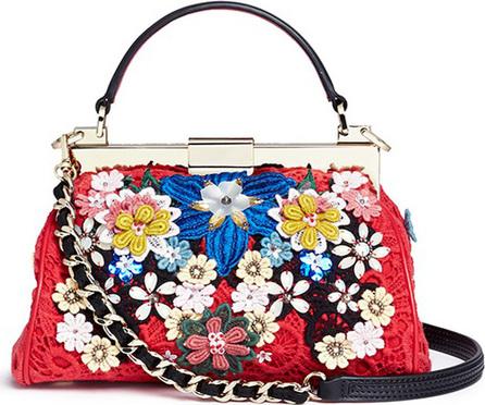 Alice + Olivia 'Scarlet' embellished floral crochet shoulder bag