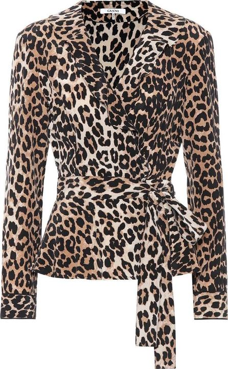 Ganni Fayette leopard-printed silk top