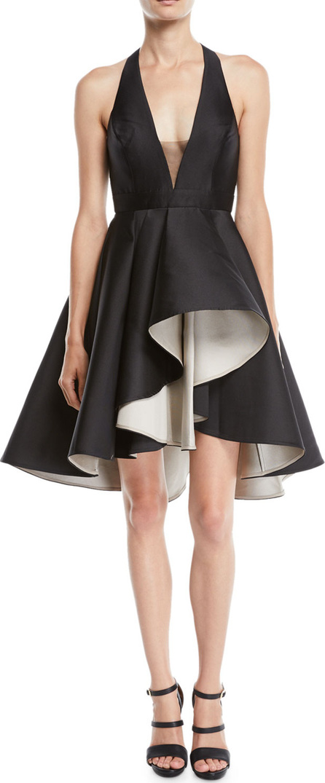 HALSTON HERITAGE Colorblock Mini Dress w/ Dramatic Skirt