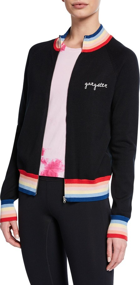 Spiritual Gangster Striped Zip-Front Bomber with Embroidery