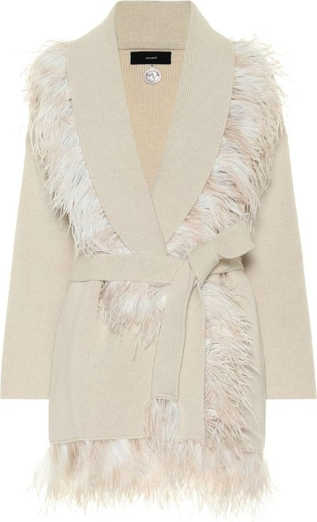 Alanui Feather-trimmed wool and cashmere cardigan