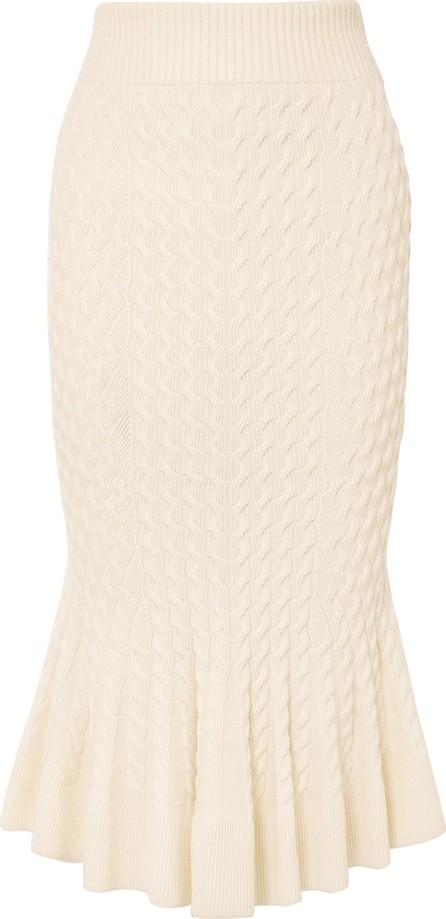 Alexander McQueen Cable-knit linen-blend midi skirt