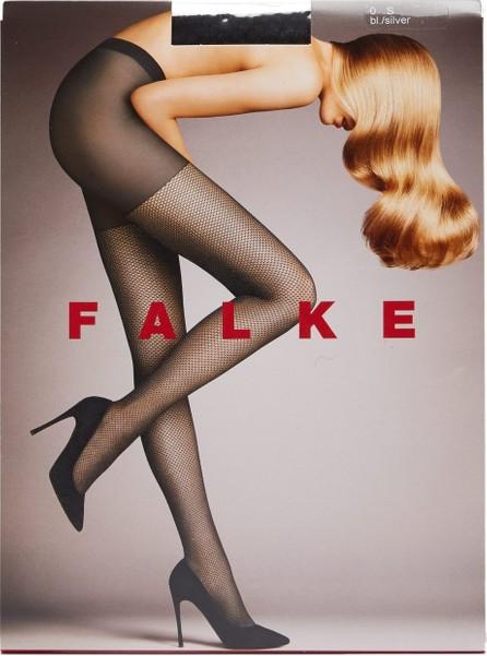 Falke Light Point silver-lurex 3D-knit fishnet tights