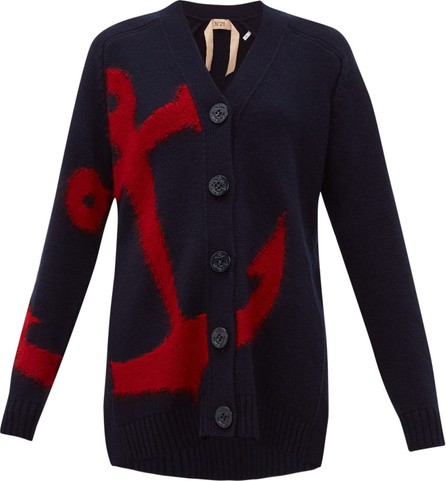 Nº21 Anchor-intarsia wool cardigan