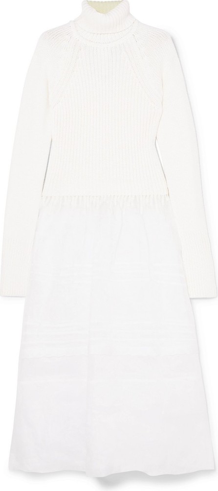 LOEWE Ribbed wool and cotton-voile turtleneck midi dress