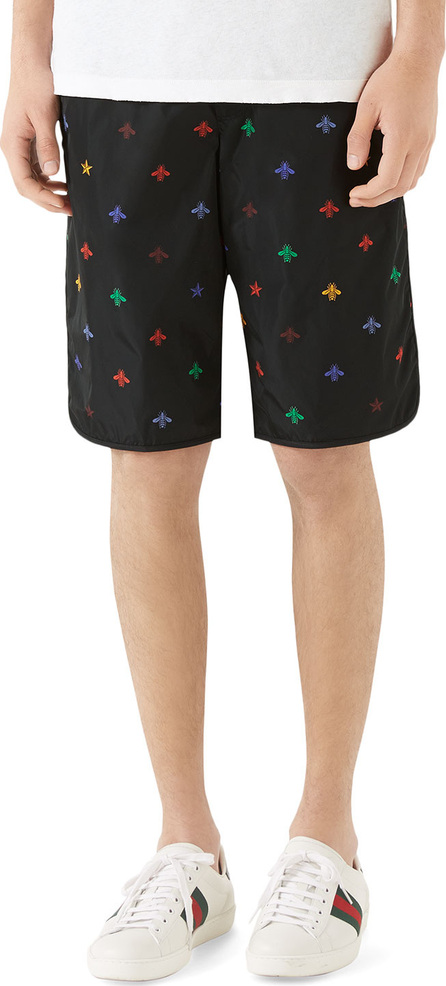 Gucci Men's Signature Bee-Embroidered Long Swim Trunks