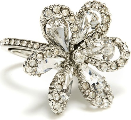 Oscar De La Renta Delicate Flower Ring w/ Crystals