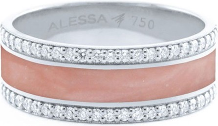 Alessa Jewelry Spectrum Painted 18k White Gold Ring w/ Diamond Trim, White, Size 7.5