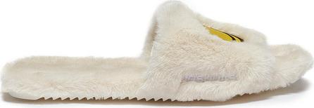 Joshua Sanders 'Dream Smile' appliqué faux fur slide sandals