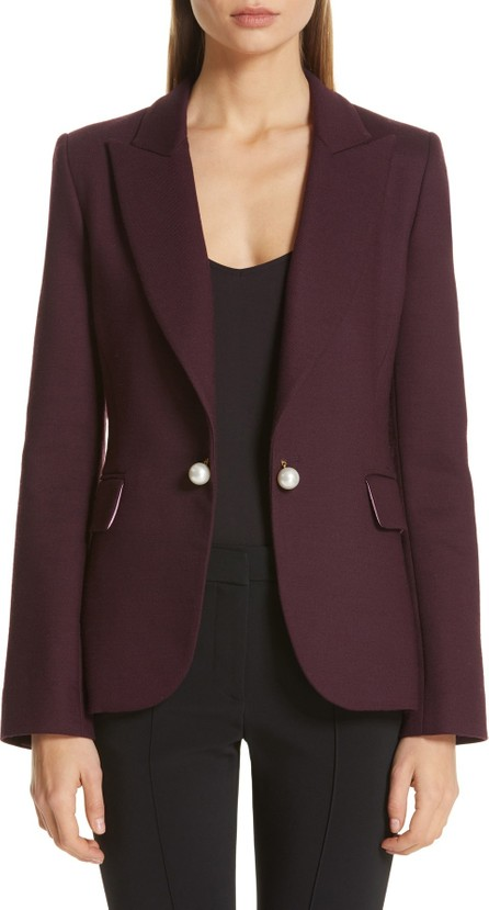 Adam Lippes Imitation Pearl Embellished Double Face Blazer