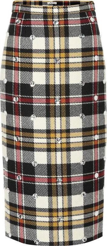 Miu Miu Embellished checked wool skirt