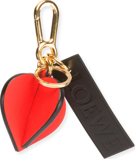 LOEWE Leather Heart Charm with Logo, Red/Black