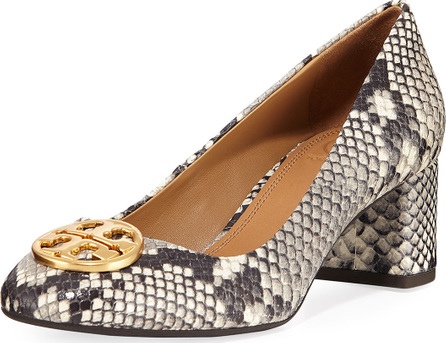 Tory Burch Chelsea Snake-Embossed Block-Heel Pumps