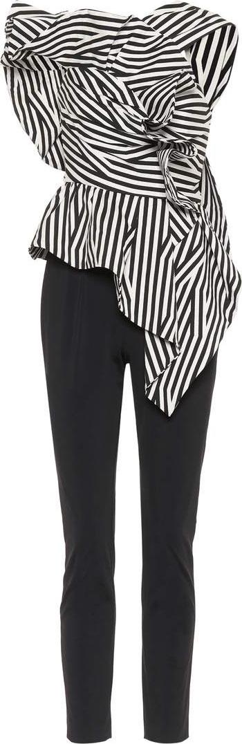 Self Portrait Striped cotton-blend jumpsuit