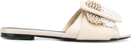 Ermanno Scervino Woven buckle peep toe mules