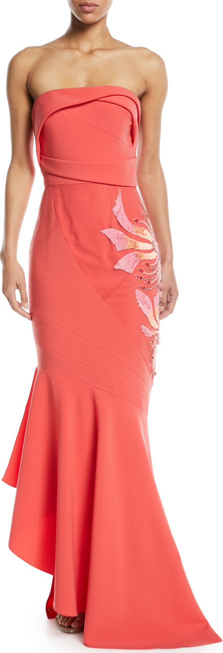Rubin Singer Bateau Neck Scribble Print High Low Tulip Evening Gown Luxed