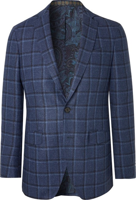 Etro Navy Slim-Fit Checked Wool and Silk-Blend Blazer