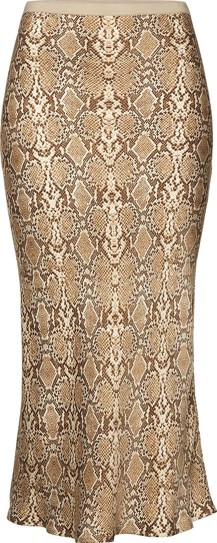 ANINE BING Bar Snakeskin Printed Silk Midi Skirt