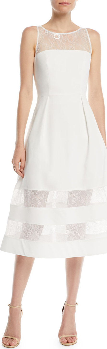 Aidan by Aidan Mattox Crepe & Lace Tiered A-Line Dress
