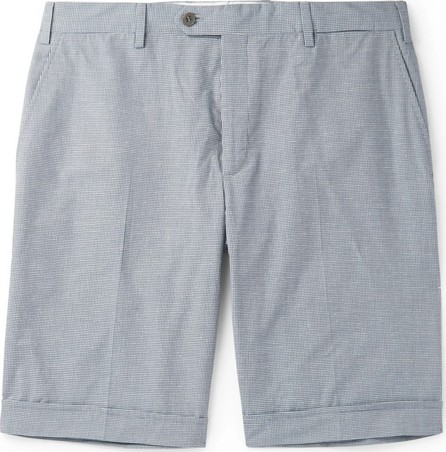 Brioni Micro-Checked Cotton and Silk-Blend Shorts