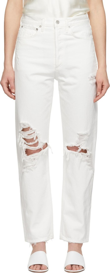 Agolde White 90's Mid Rise Loose Fit Jeans