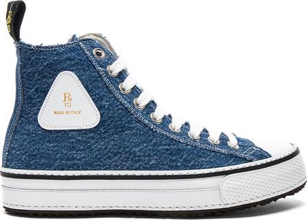 R13 Re-Purposed Denim Hi-Top Sneakers