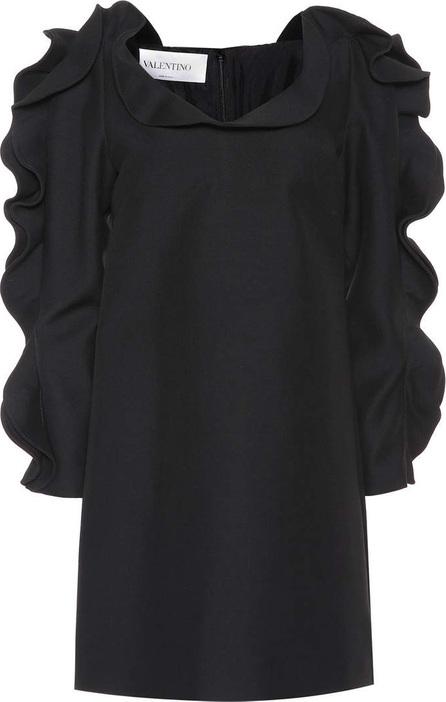 Ruffled wool and silk minidress