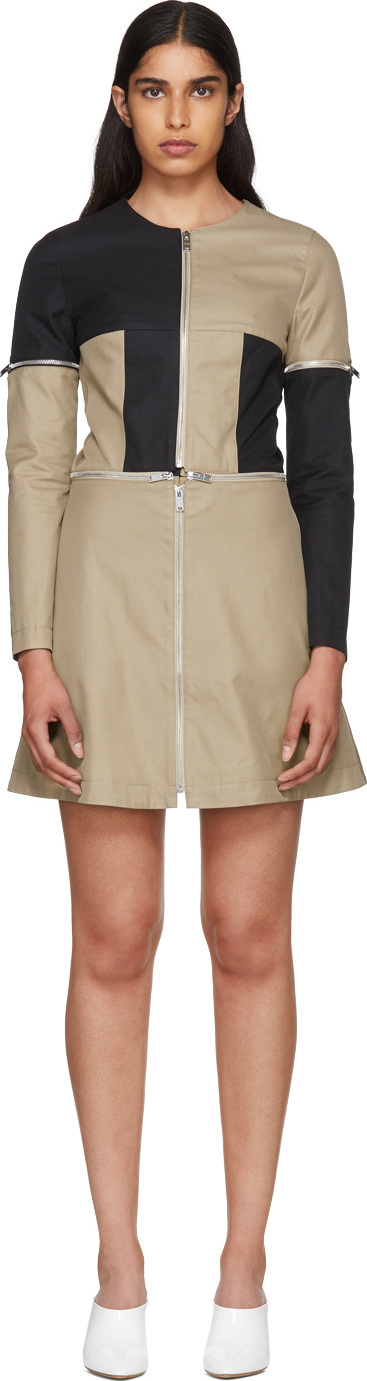 CourrèGes Beige & Black Zip Dress