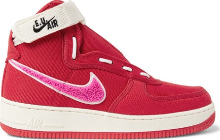 Nike + Emotionally Unavailable Air Force 1 Zipped Canvas High-Top Sneakers
