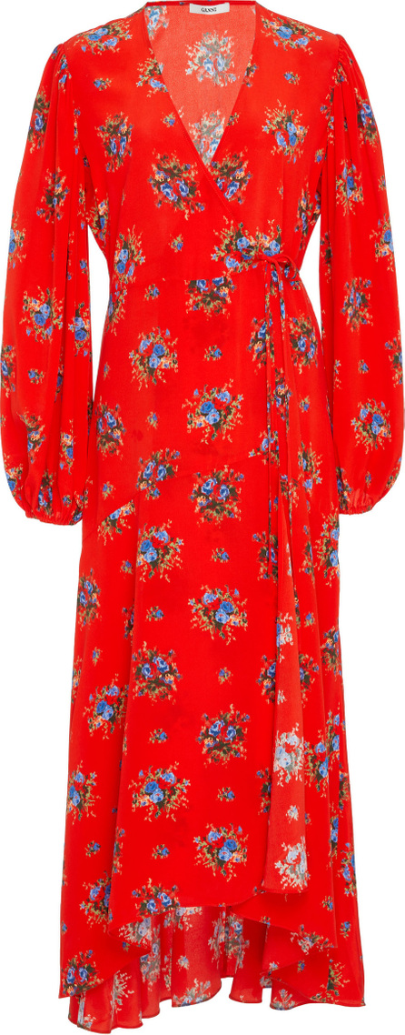 Ganni Kochhar Floral-Print Silk Crepe De Chine Wrap Dress