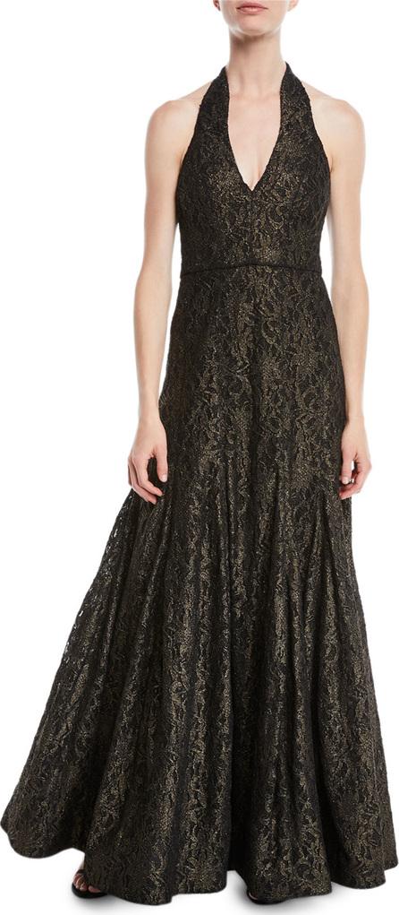 HALSTON HERITAGE Metallic Lace Halter Gown