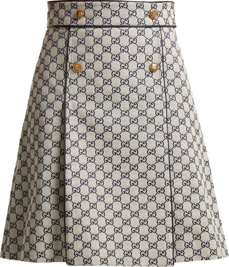 Gucci Logo-print cotton-blend skirt