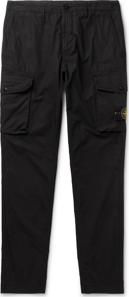 Stone Island Black Tapered Cotton-Ripstop Cargo Trousers