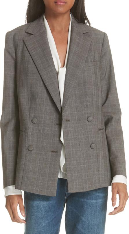 FRAME DENIM Plaid Double Breasted Wool Blazer
