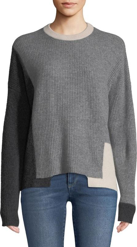 360 Cashmere Akima Crewneck Colorblocked Ribbed Cashmere Pullover Sweater
