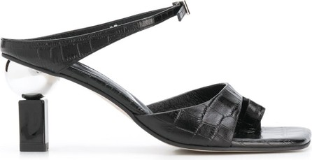 Yuul Yie Croc effect strappy mules