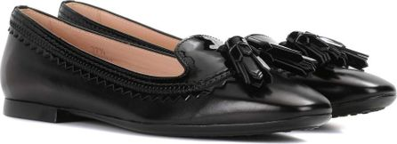 Tod'S Embellished leather ballerina shoes
